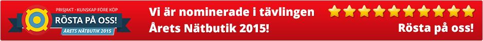 Vi är nominerade i tävlingen Årets Nätbutik 2015! Rösta på oss!