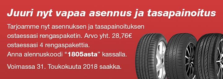 Tarjoamme nyt asennuksen ja tasapainoituksenostaessasi rengaspaketin. Arvo yht. 28,76€ ostaessasi 4 rengaspakettia.