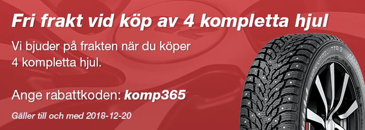 Fri frakt vid köp av 4 kompletta hjul - Vi bjuder på frakten när du köper 4 kompletta hjul.