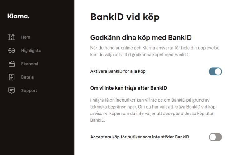 Klarna godkänn köp utan BankId