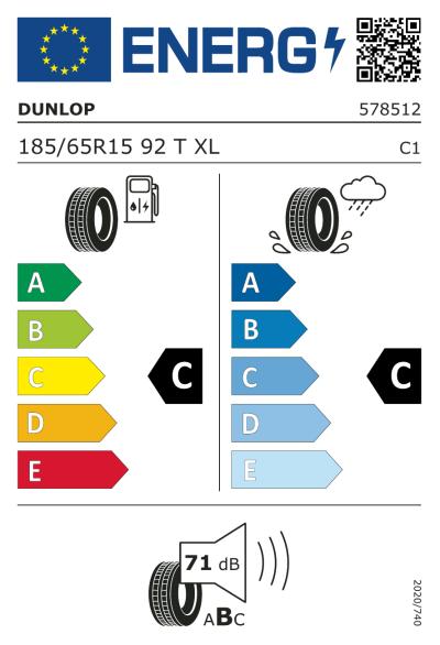 EU-merking Dunlop StreetResponse 2 185/65R15 92T XL