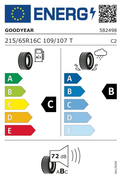 Eu-Märkning Goodyear Efficientgrip Cargo 2 215/65R16 109T
