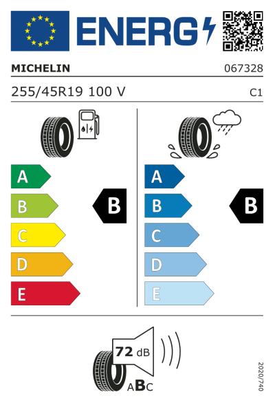 Eu-Märkning Michelin Pilot Sport A/S Plus 255/45R19 100V N1
