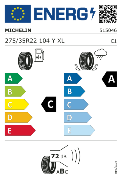 Eu-Märkning Michelin Pilot Sport EV 275/35R22 104Y XL Acoustic MO