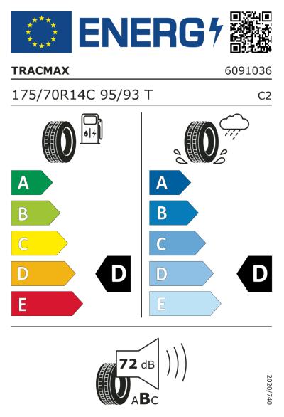 Eu-Märkning Tracmax Radial 109 175/70R14 95Y