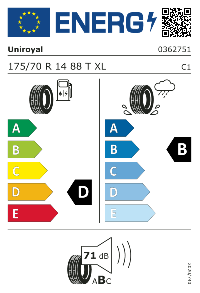 Eu-Märkning Uniroyal RainExpert 3 175/70R14 88T XL