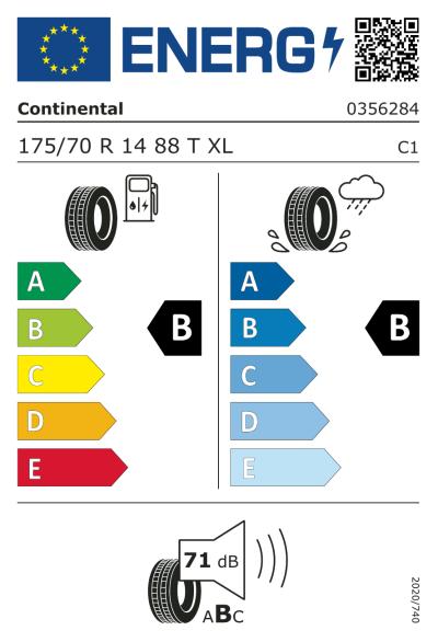 Eu-Märkning Continental ContiEcoContact 5 175/70R14 88T XL