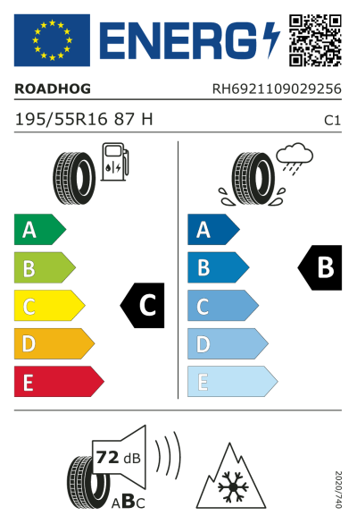 Eu-Märkning Roadhog Winter+ 195/55R16 87H