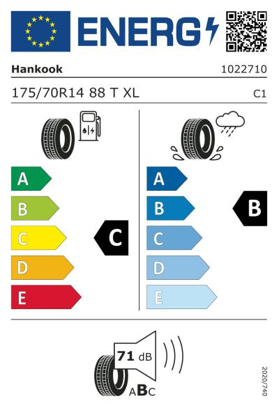 Eu-Märkning Hankook Kinergy Eco 2 K435 175/70R14 88T XL