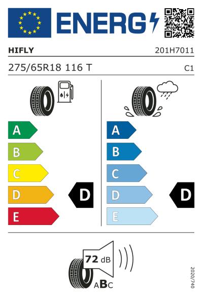 Eu-Märkning Hifly Vigorous AT606 275/65R18 116T