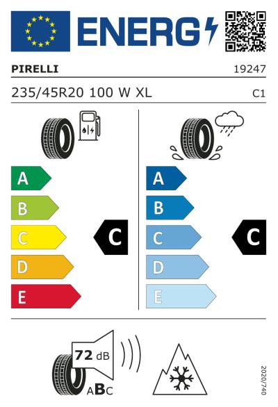 Eu-Märkning Pirelli Winter 270 Sottozero S2 235/45R20 100W XL