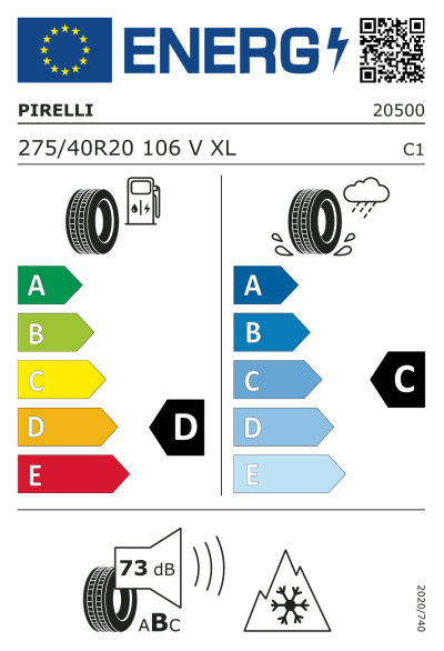 Eu-Märkning Pirelli Scorpion Ice & Snow 275/40R20 106V XL RunFlat *