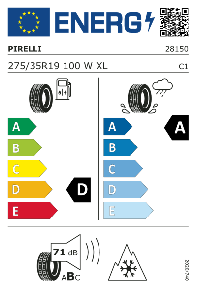 Eu-Märkning Pirelli Winter 270 Sottozero S2 275/35R19 100W XL