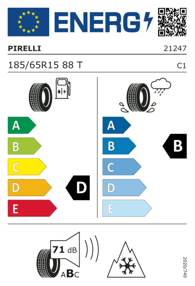 Eu-Märkning Pirelli Winter 190 Snowcontrol 3 185/65R15 88T
