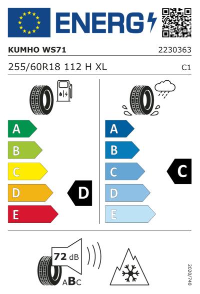 EU-merking Kumho WinterCraft WS71 255/60R18 112H XL
