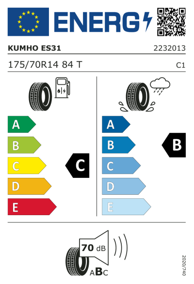 Eu-Märkning Kumho Ecowing ES31 175/70R14 84T