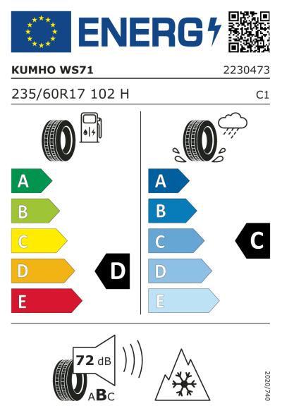 EU-merking Kumho WinterCraft WS71 235/60R17 102H