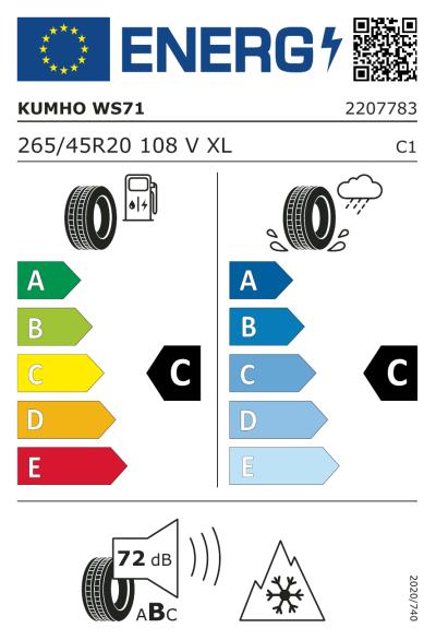 EU-merking Kumho WinterCraft WS71 265/45R20 108V XL