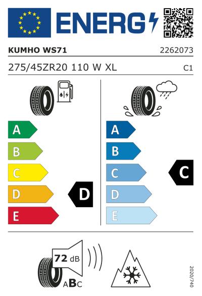 EU-merking Kumho WinterCraft WS71 275/45R20 110W XL
